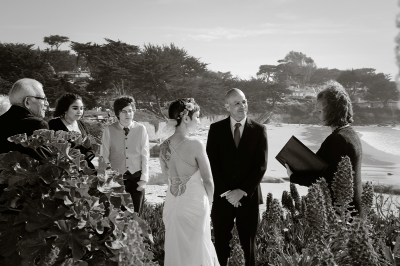 black and white beach wedding California