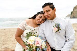 happy couple eloping on the beach in Santa Cruz