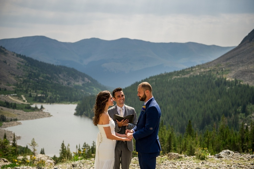 married by a mountain lake in Breckenridge Colorado
