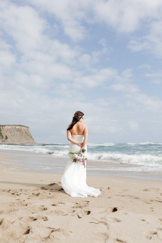 bride on the beach in Santa Cruz