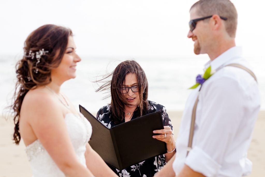 elopement wedding vows on the beach in Santa Cruz