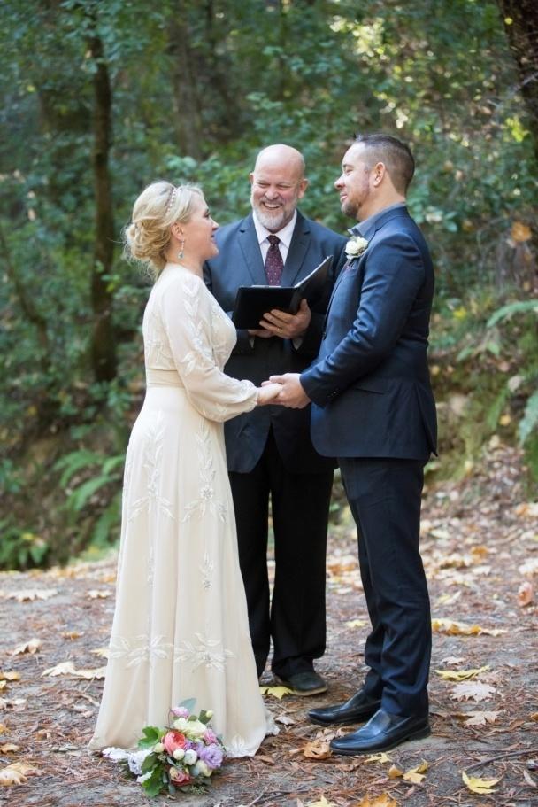 wedding ceremony amid the redwoods