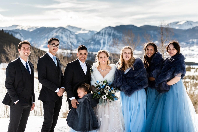 Wedding party - Colorado winter elopement