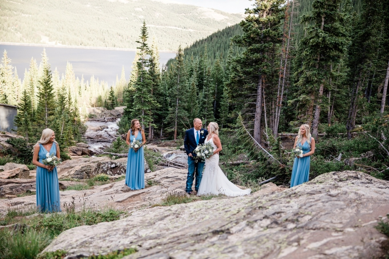 Family at the waterfall for their Colorado elopement