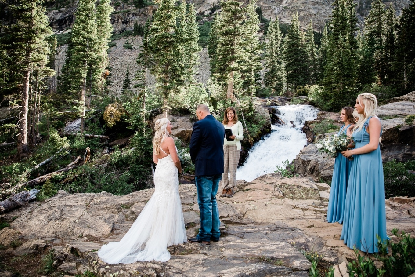 elopement ceremony at a waterfall in Colorado