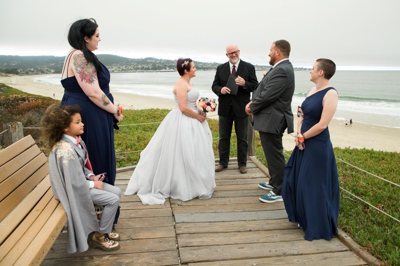 elopement ceremony on the boardwalk in Monterey