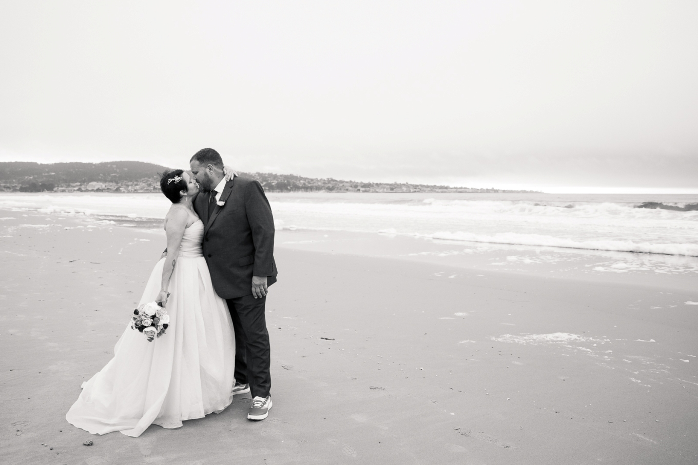 eloping on the beach in Monterey