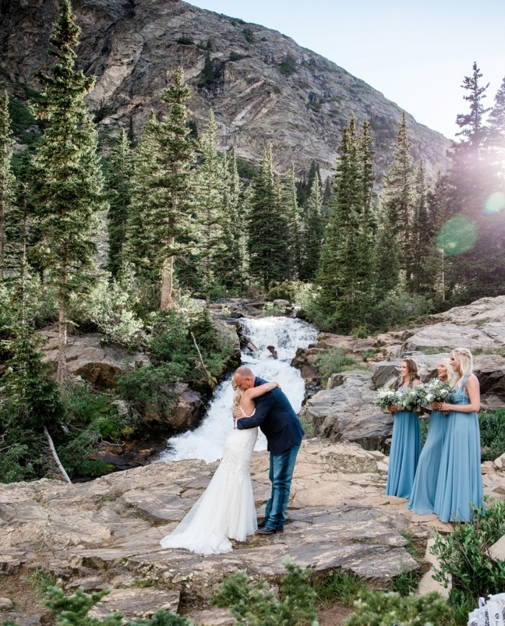 first kiss - Colorado elopement at a waterfall
