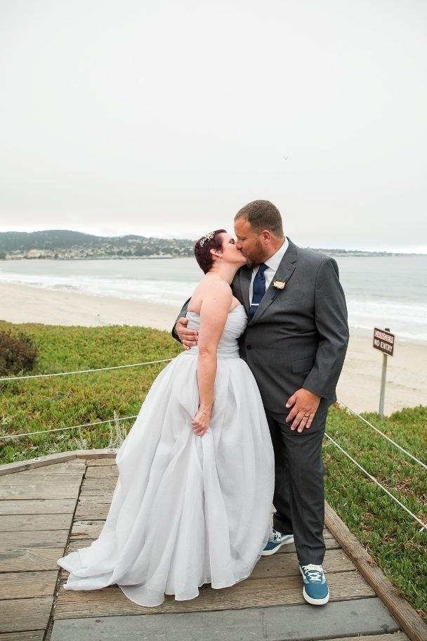 first married kiss - Monterey Beach elopement