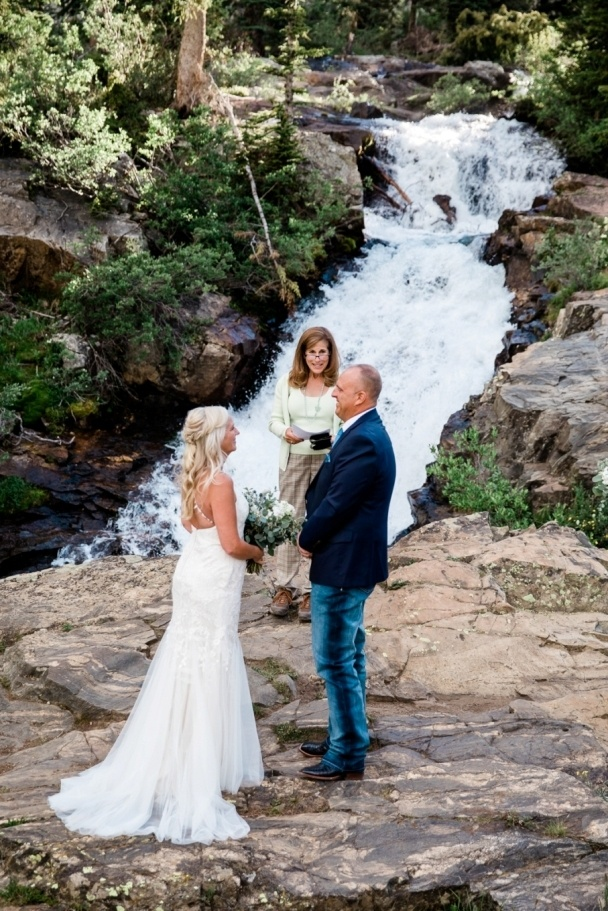 Matt and Laura married at a waterfall in Colorado