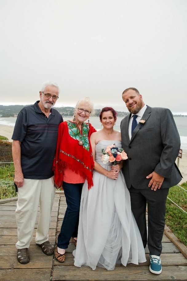 eloping couple and parents - Monterey beach