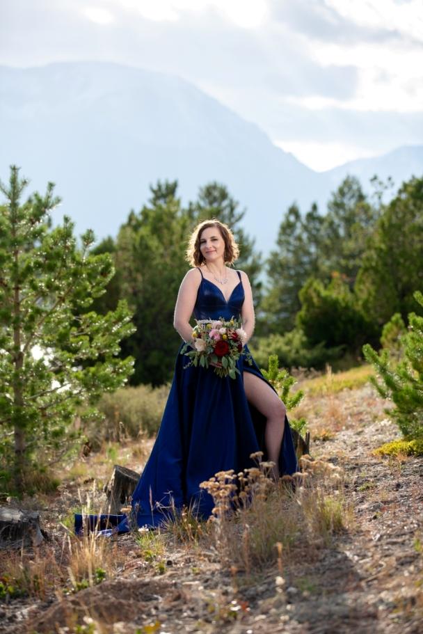 beautiful bride in a blue dress