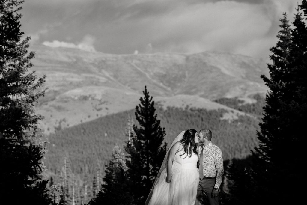 mountain micro-wedding in black and white