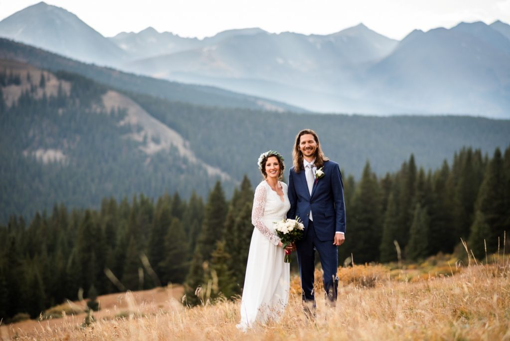 couple standing in a mountain meadow on Boreas Pass
