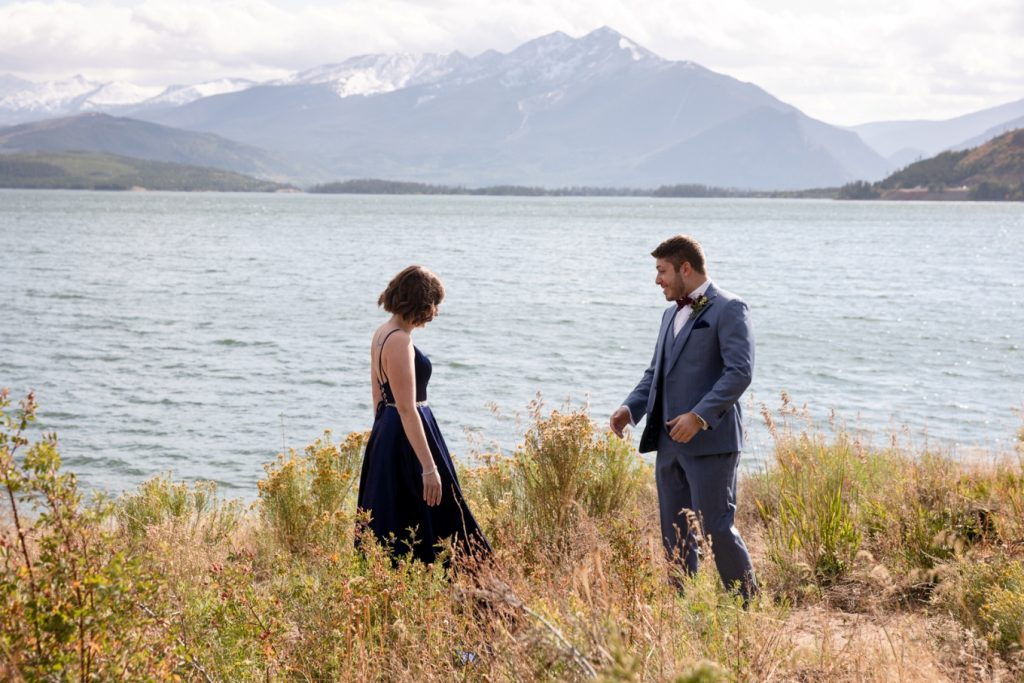 Cassie and Rami's first look - Lake Dillon elopement