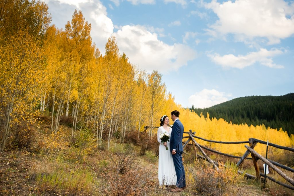 married amid the aspens of Colorado in fall