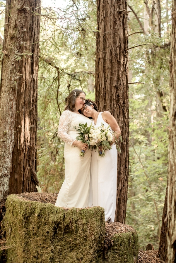 Maija and Hally married in the California redwoods