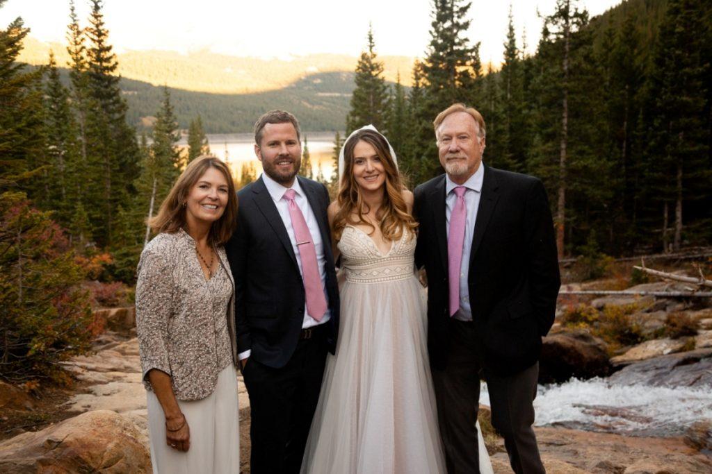 Breckenridge elopement couple and parents